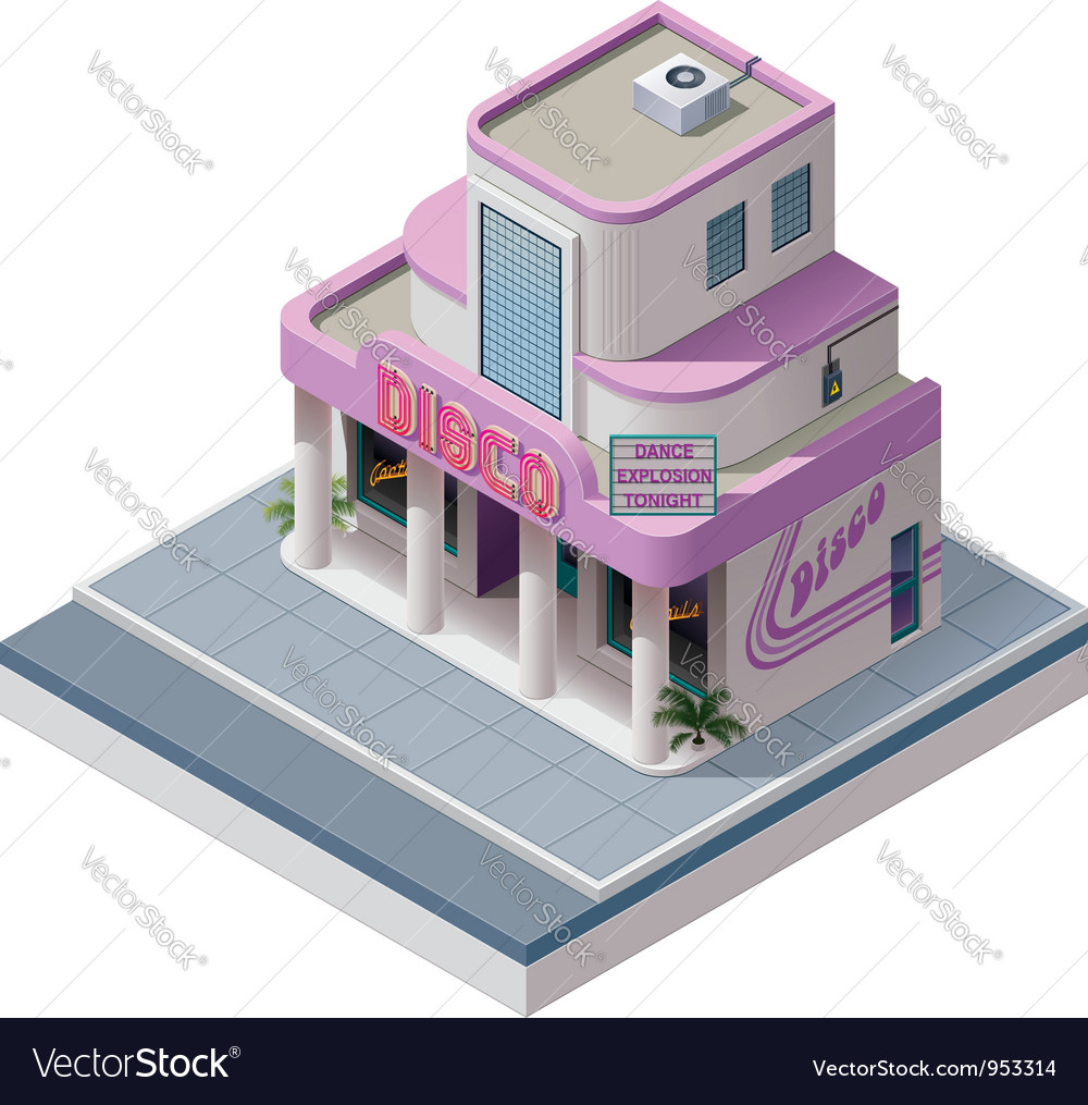 Isometric nightclub building vector