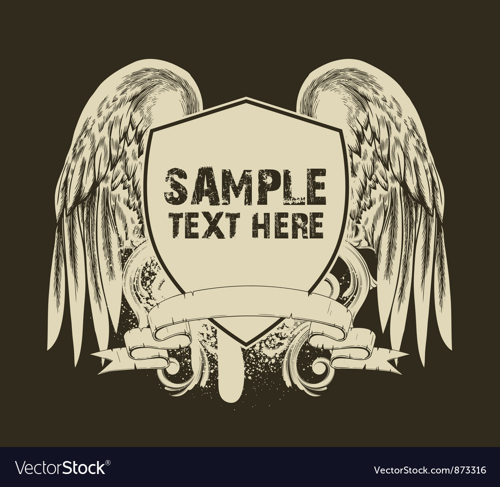 Free grunge tshirt design with shield vector