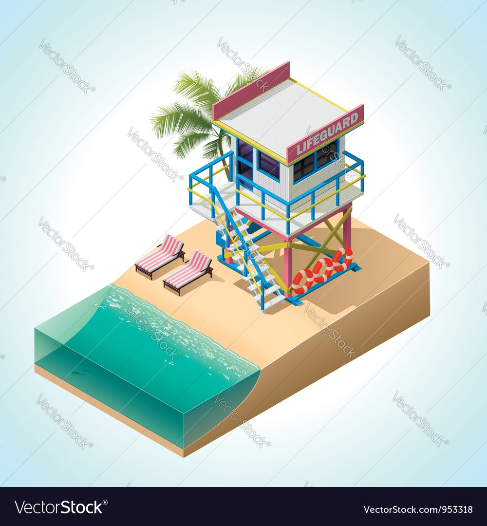 Isometric lifeguard tower vector