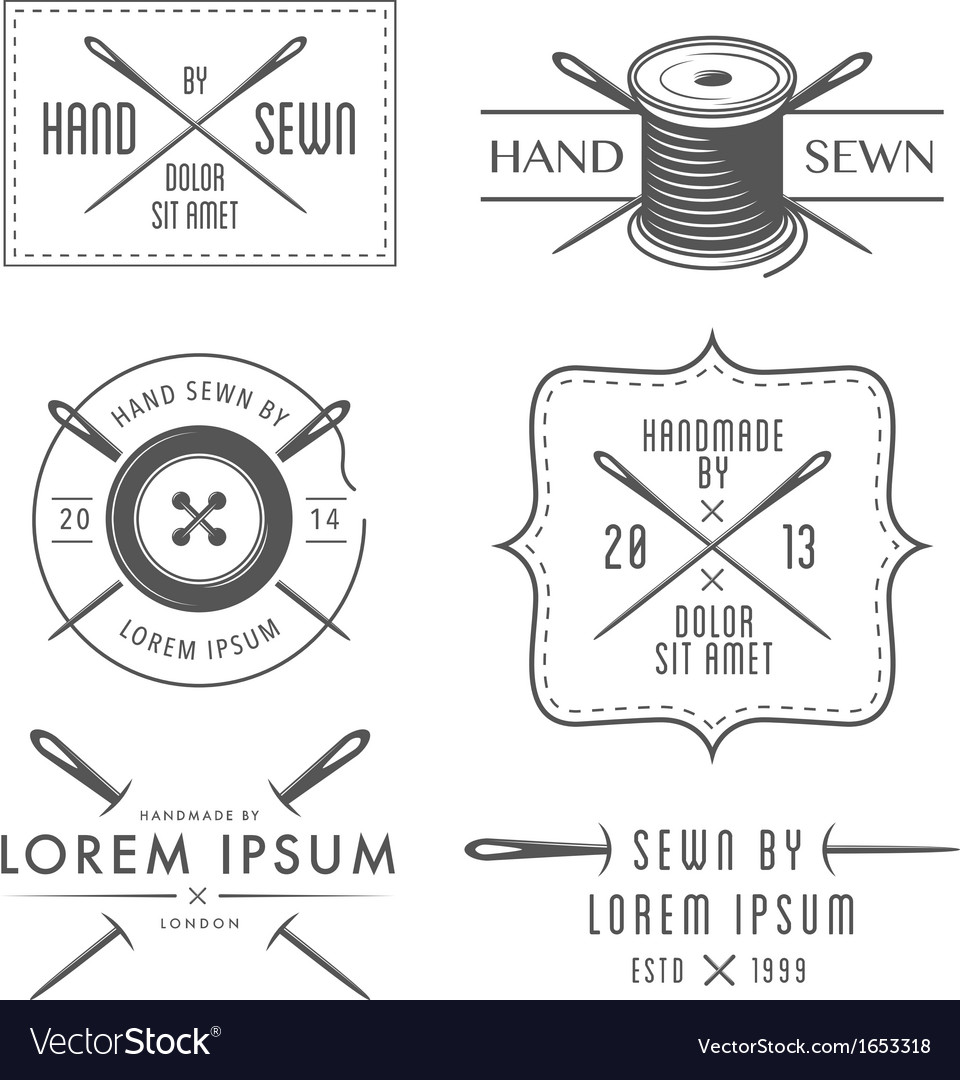 Set of vintage tailor labels and emblems vector
