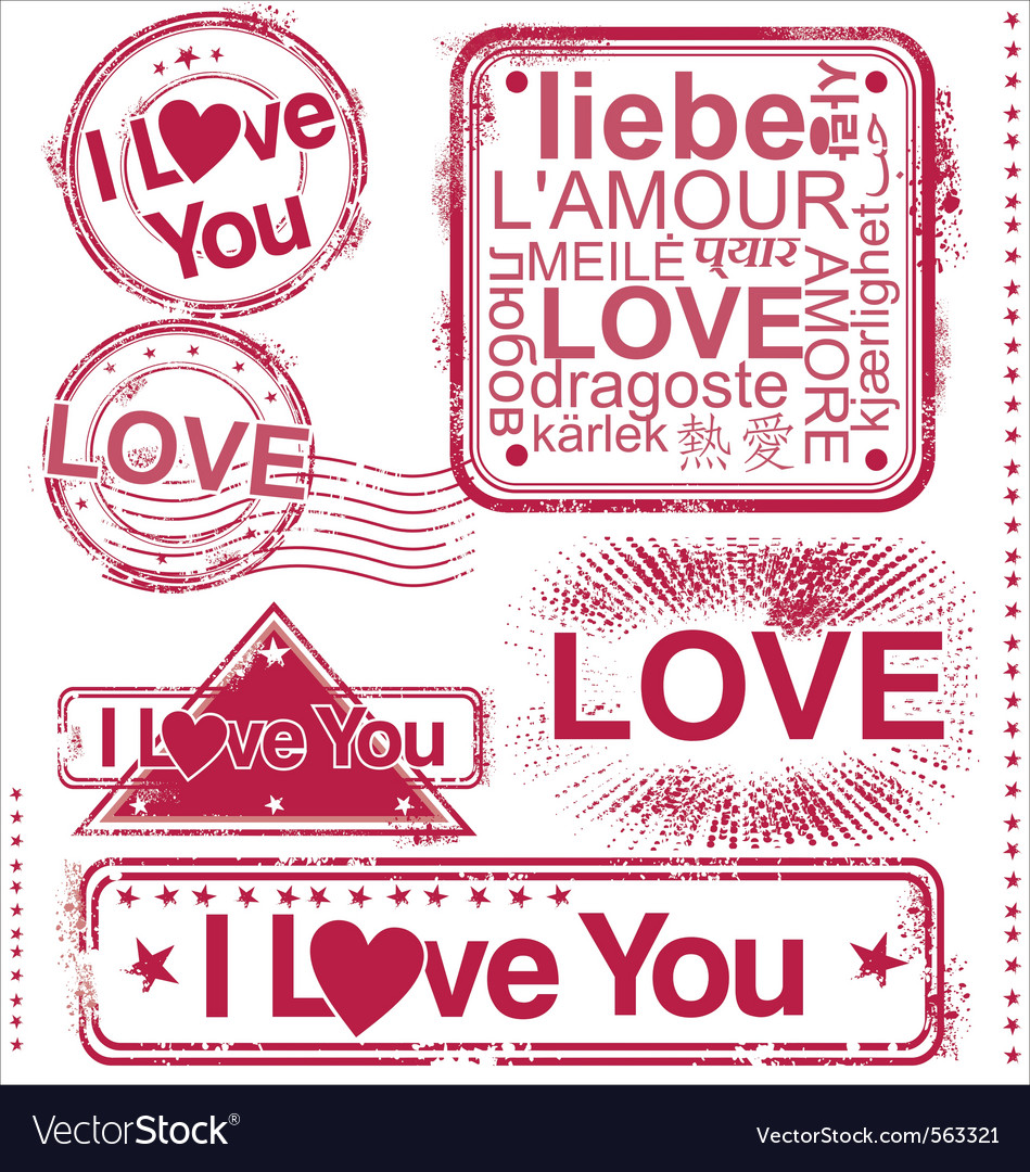 I love you stamps vector