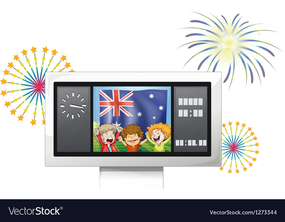 A board with the flag of australia and three happy vector