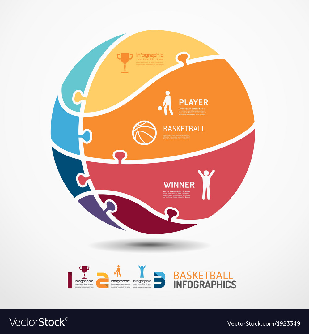 Infographic Ideas infographic basketball : Infographic template with basketball jigsaw banner vector by ...