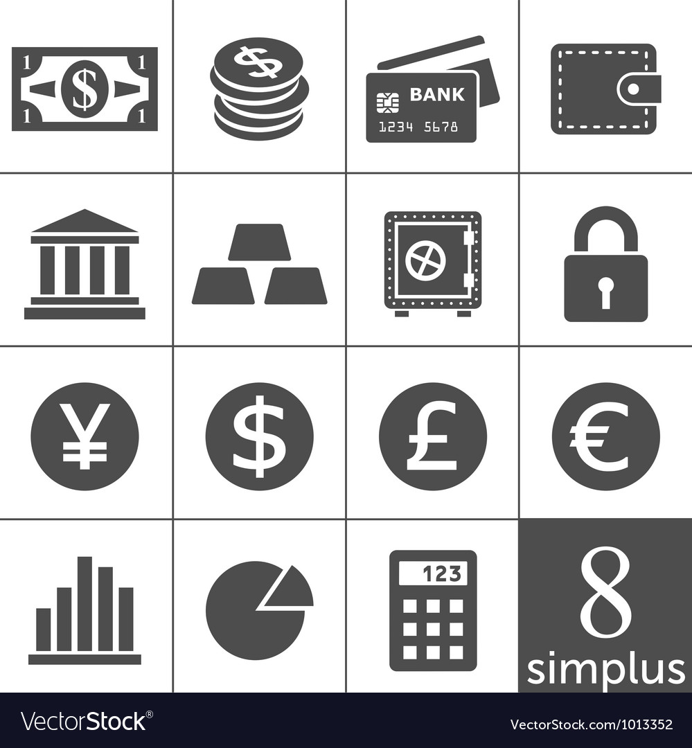 Financal icons set  simplus series vector