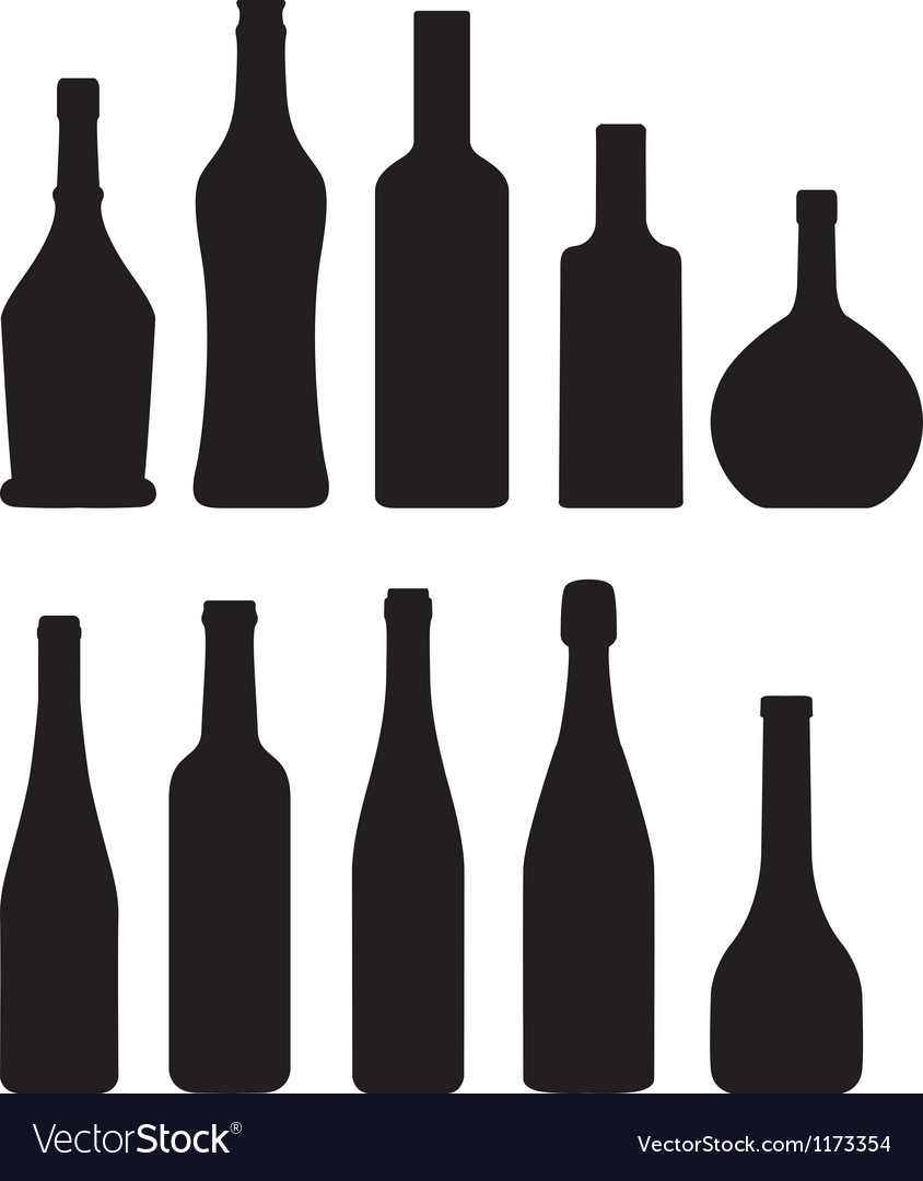 Silhouette of bottles vector