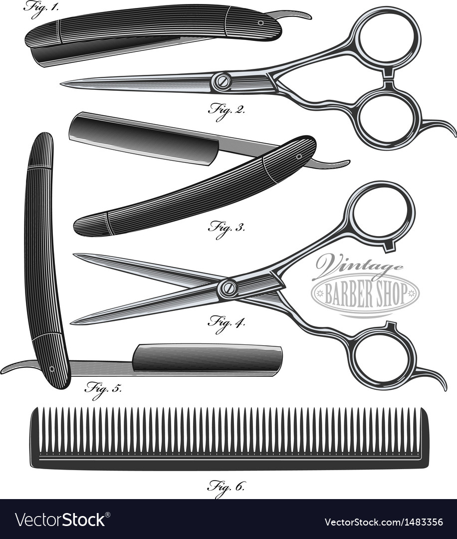 Comb scissors and razor in vintage engraved style vector