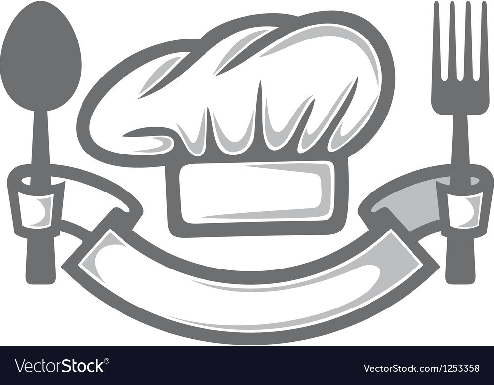Chef hat with fork and spoon vector