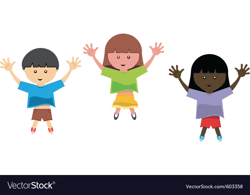 Kids jumping vector