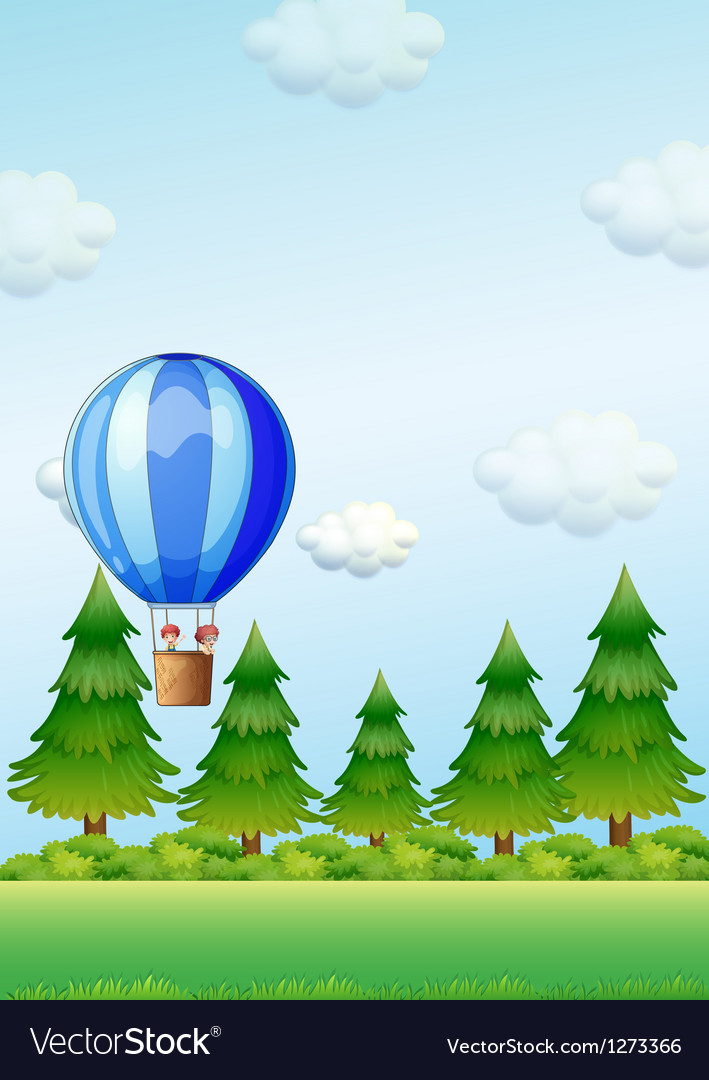 Two kids riding in an air balloon vector