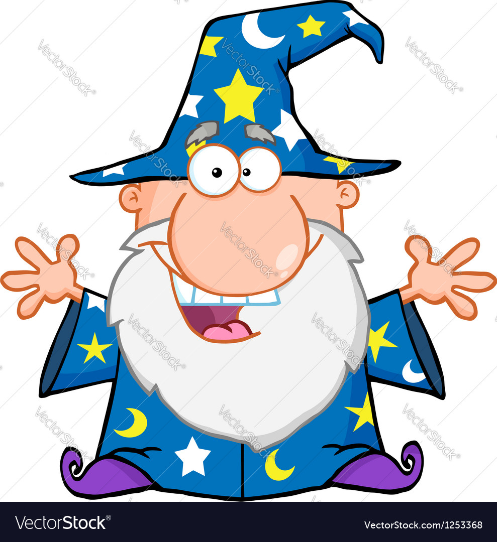 Happy wizard with open arms vector