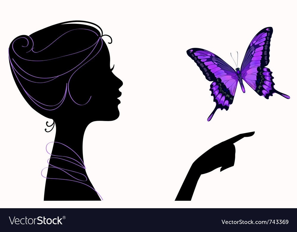 Beautiful girl silhouette with butterfly vector