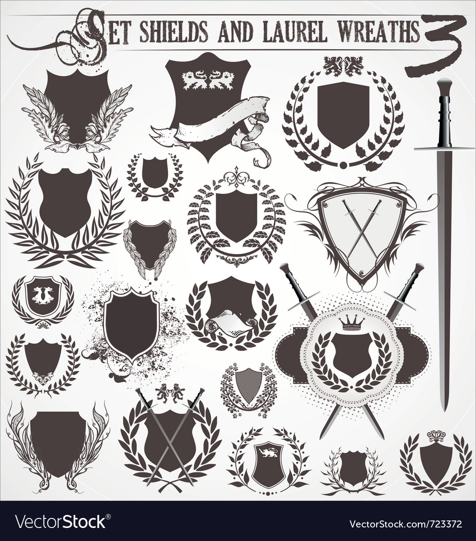Set  shields and laurel wreaths 3 vector