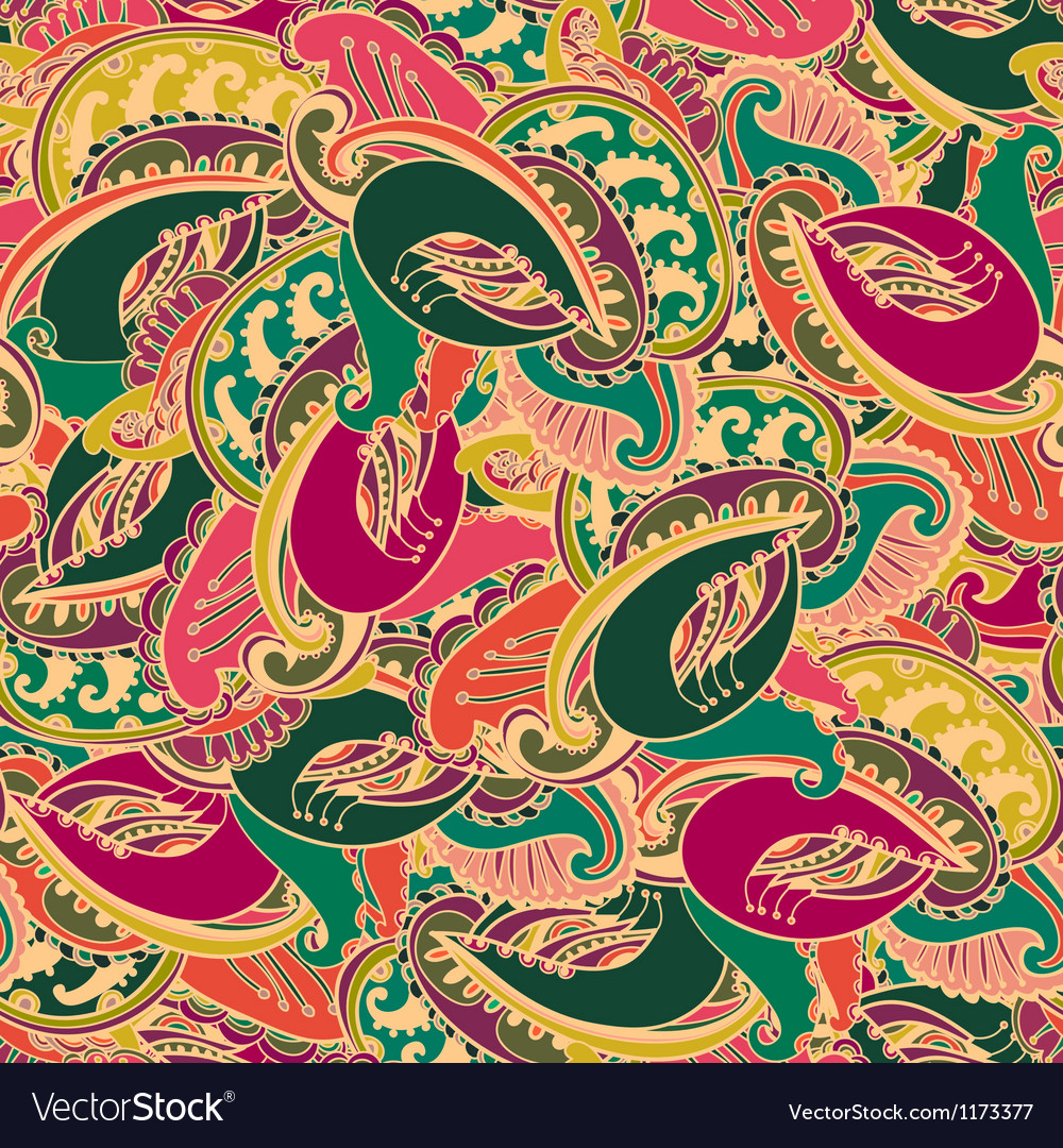 Colourful seamless indian paisley pattern vector