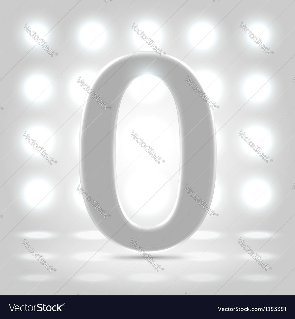 0 over back lit background vector