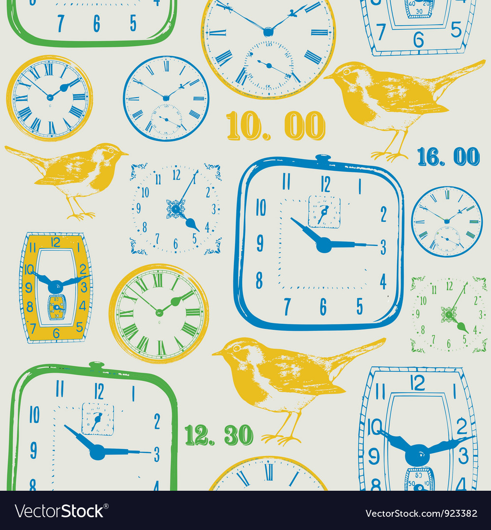 Vintage clocks pattern vector
