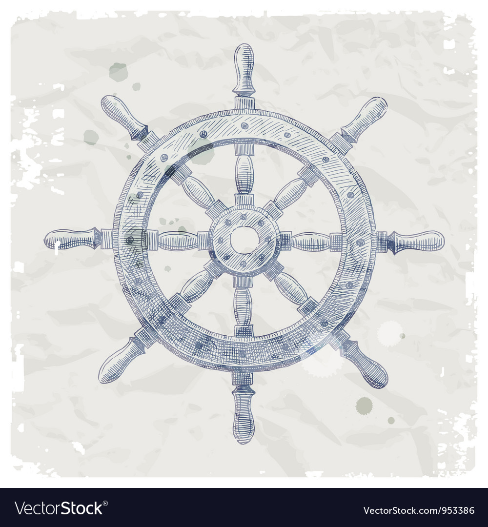 Hand drawn ship steering wheel vector