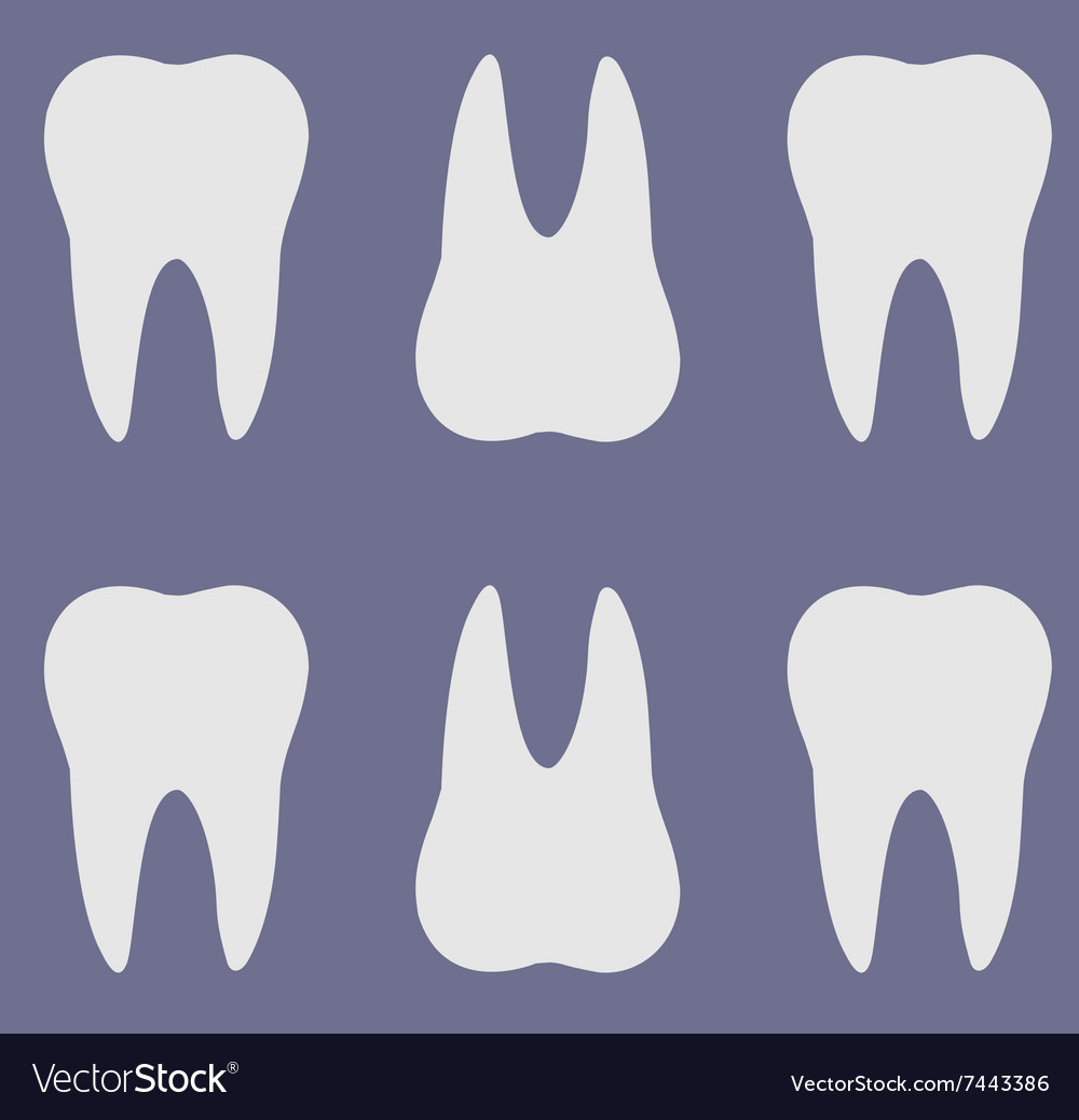 Simple cartoon tooth white silhouette on a blue background, teeth ...