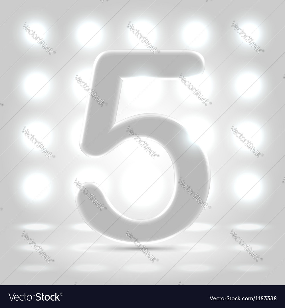 5 over back lit background vector