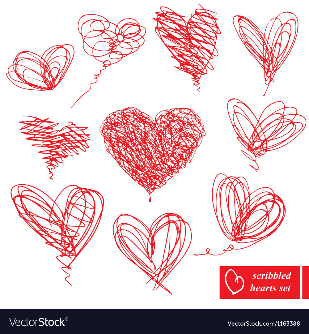 Set of 10 scribbled handdrawn sketch hearts vector