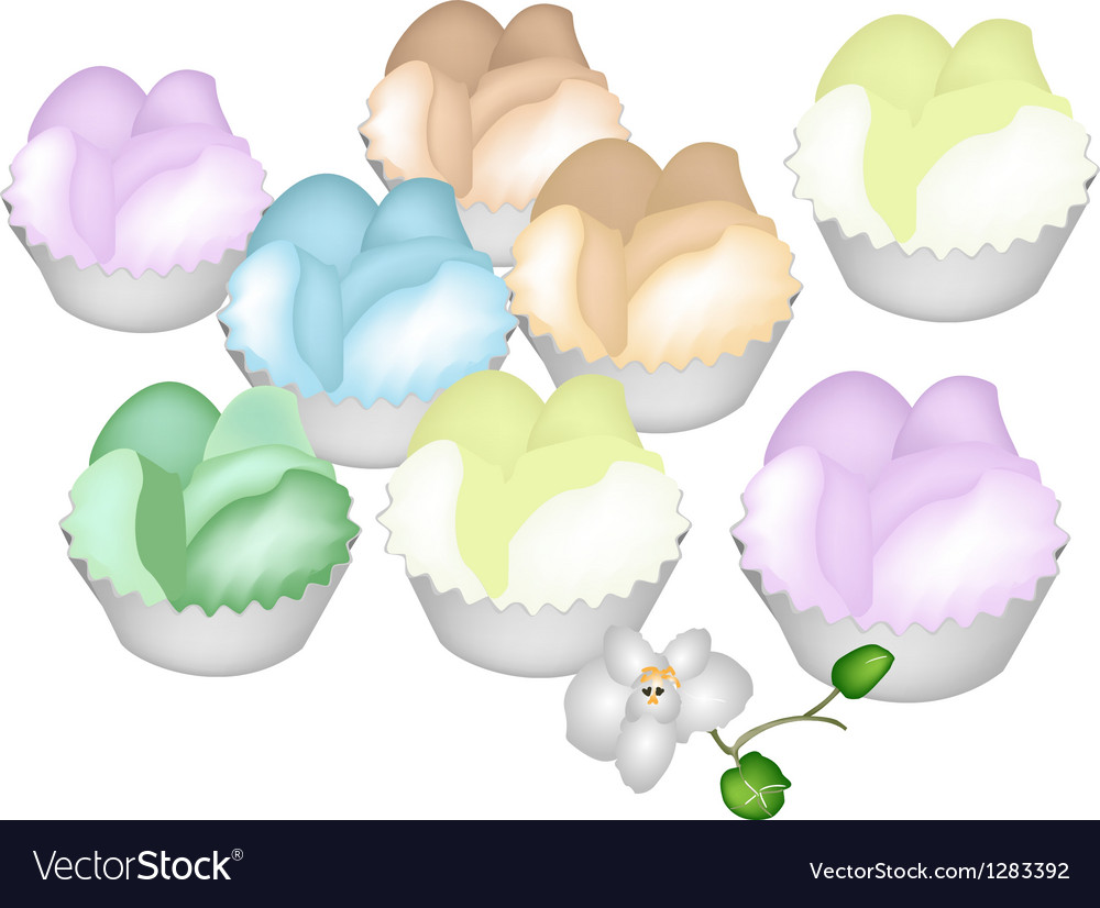 Culorful thai steamed cupcake on white background vector
