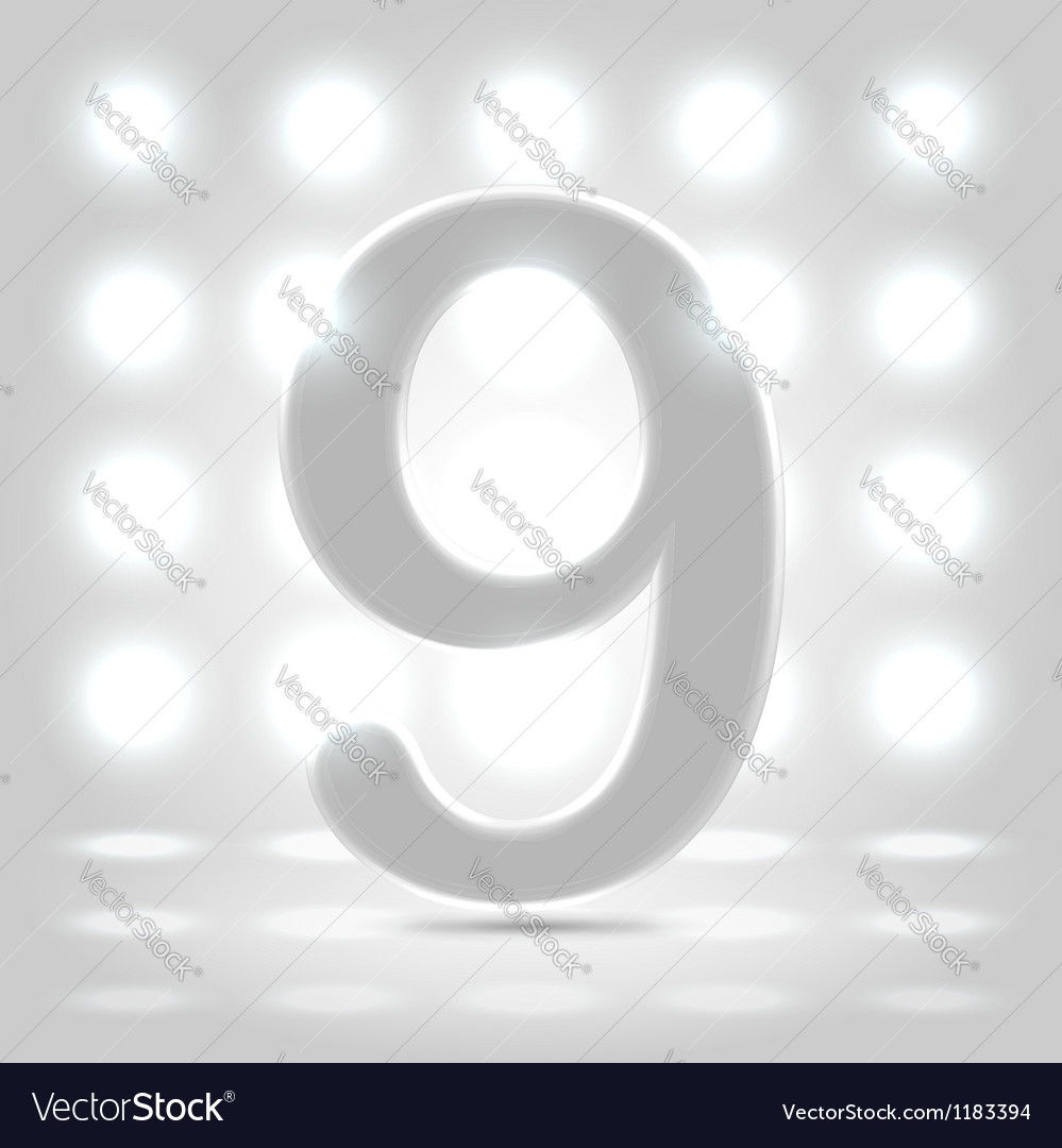 9 over back lit background vector