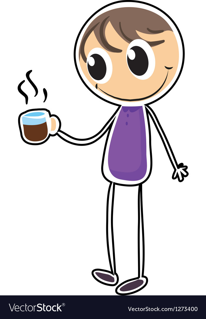 A boy with a cup of hot tea vector