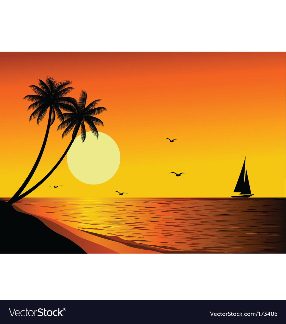 Beach Sunset Vector By Dagadu
