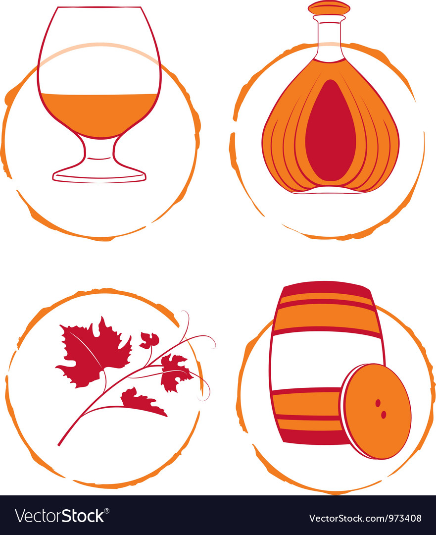Cognac set vector