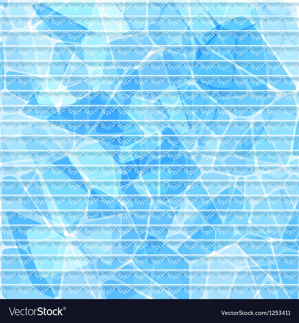 Abstract blue card with lace stripes vector