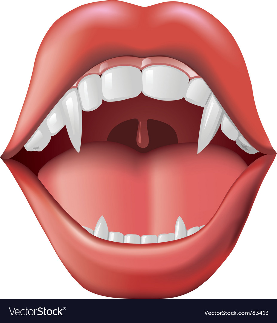 Open mouth with fangs vector