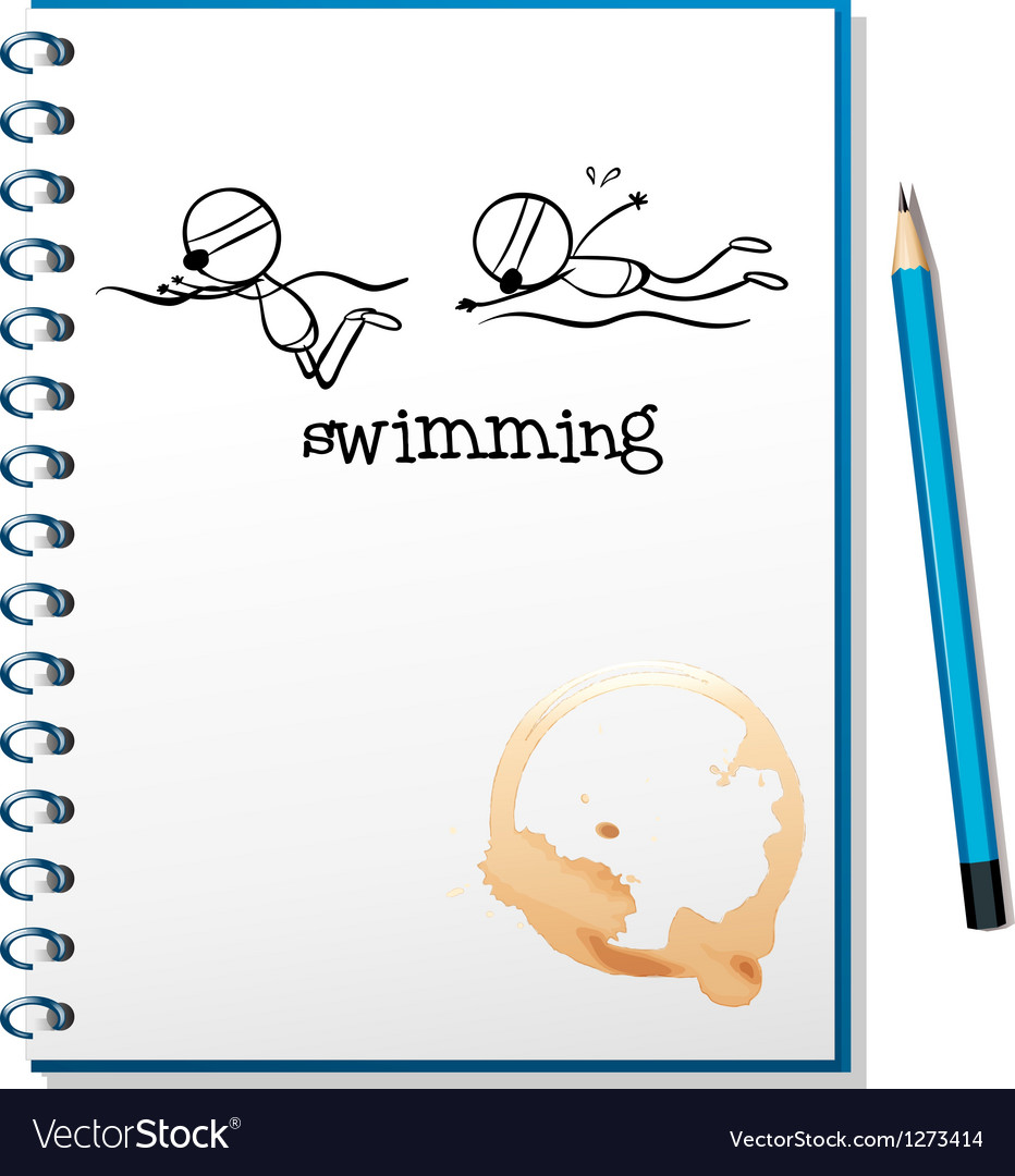 A notebook with a sketch of two people swimming vector