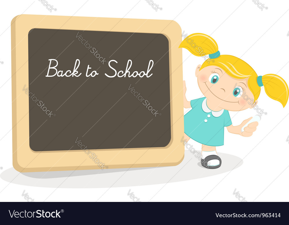 Little girl and school blackboard vector