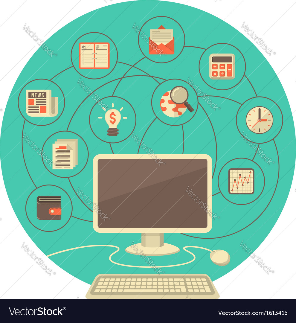 Computer as tool for business in turquoise circle vector