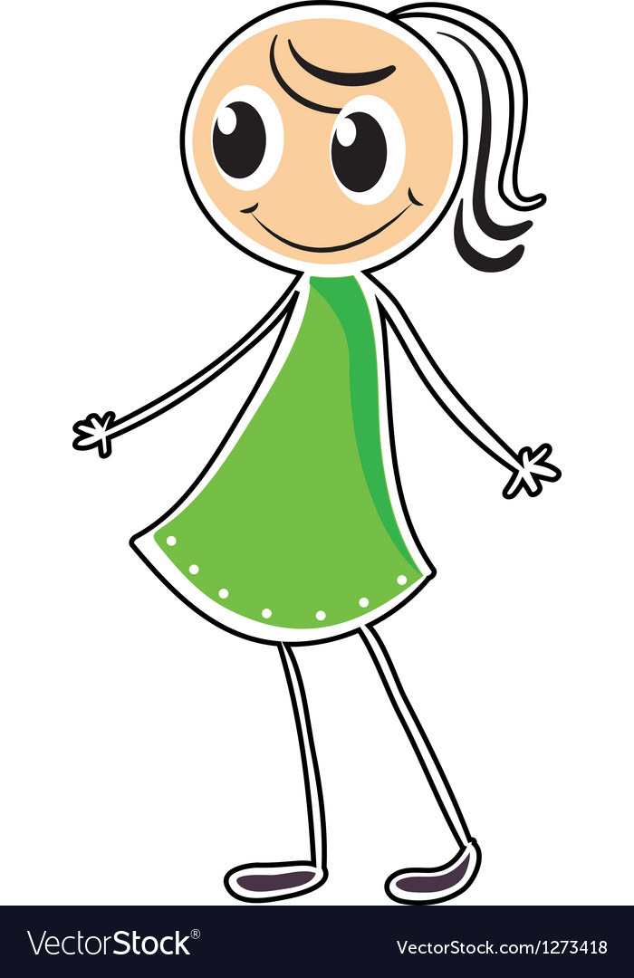A lady in a green dress vector