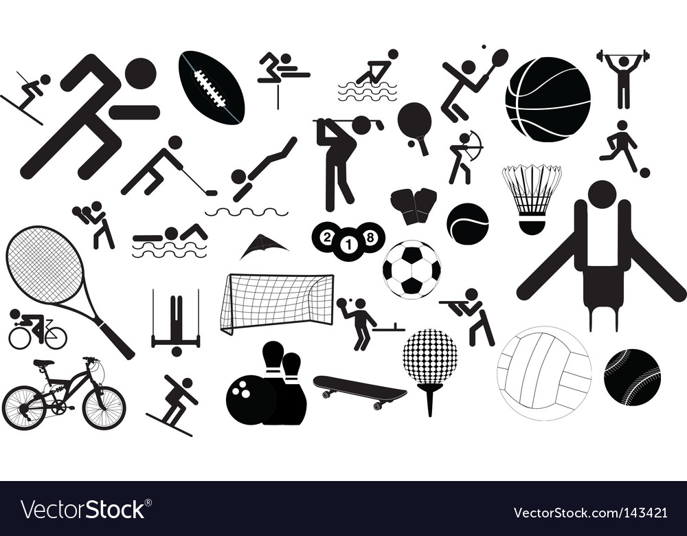 Sports figures and equipment vector