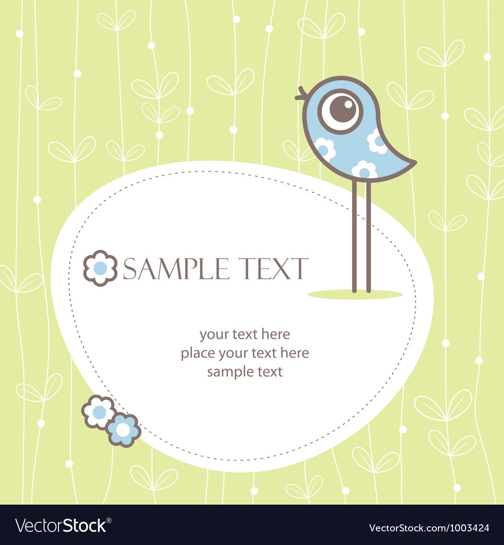 Greeting card winh cute bird vector