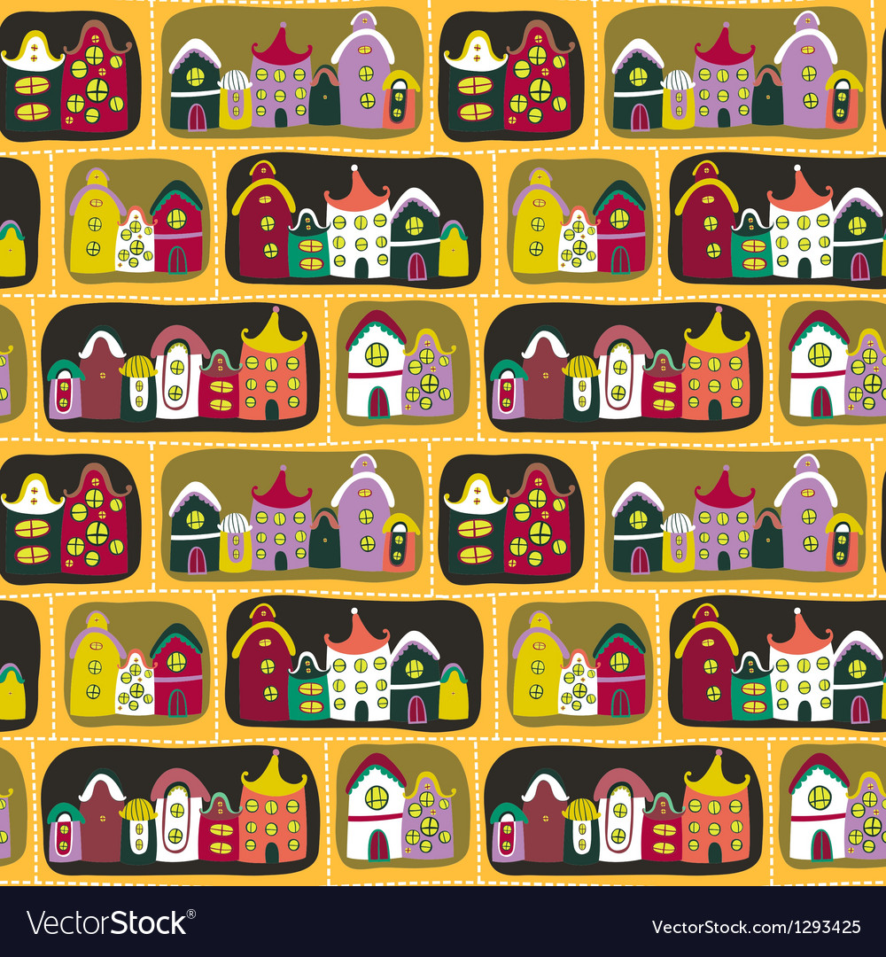 Cute seamless pattern with road and cartoon houses vector