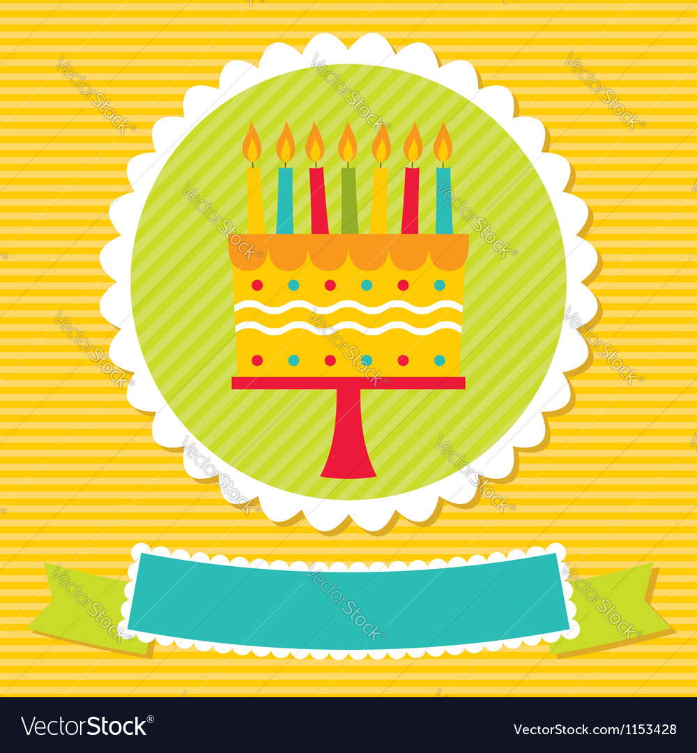 Birthday card with a cake and candles vector