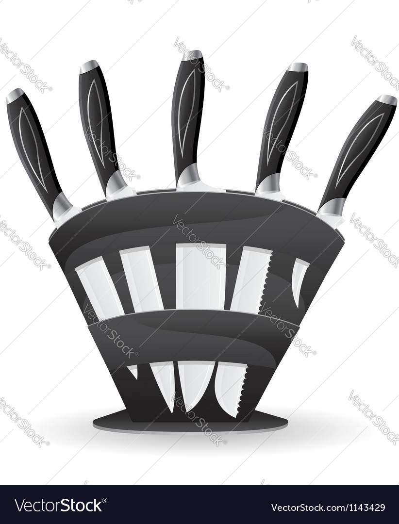 Knife set for the kitchen 03 vector