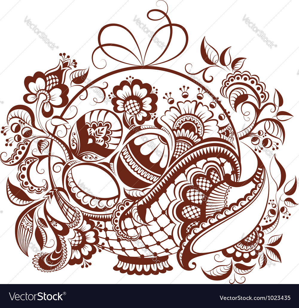 Easter design in mehndi style vector