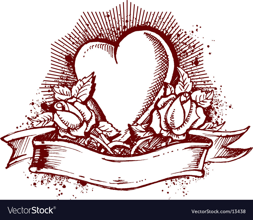 Heart and roses emblem vector