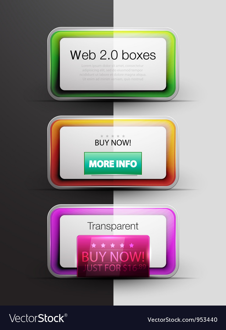 Colorful web 20 boxes vector