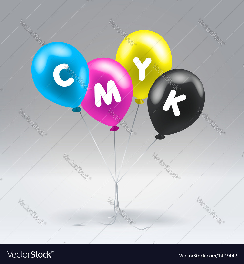 Cmyk inflatable balloons vector