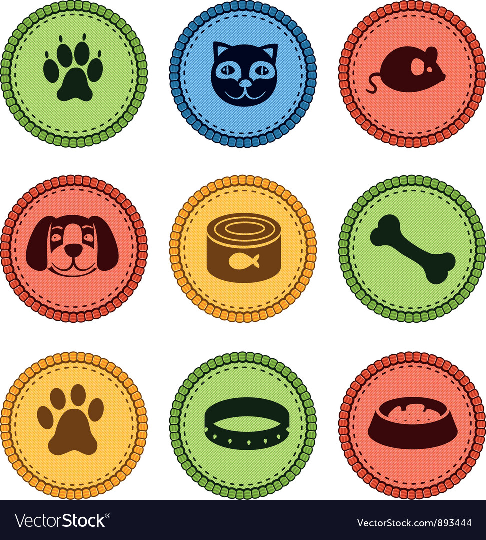 Set of cat and dog icons in retro style vector