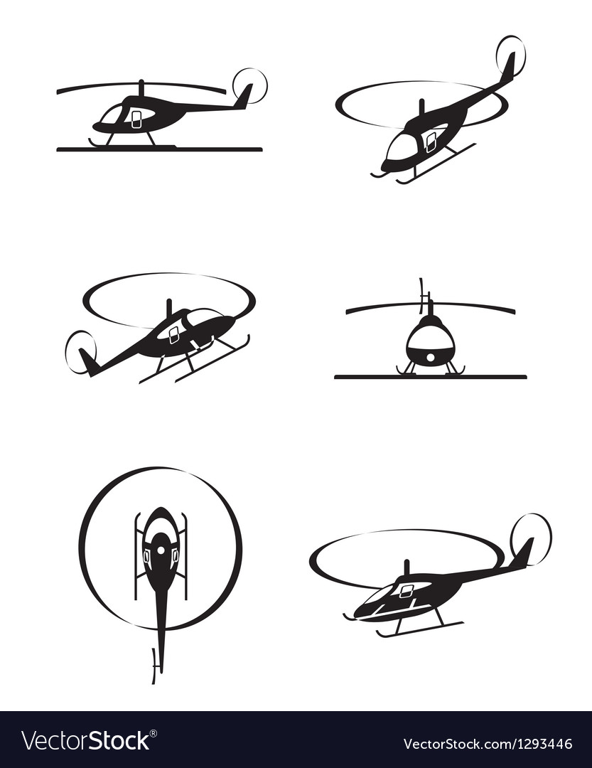 Civil helicopters in perspective vector