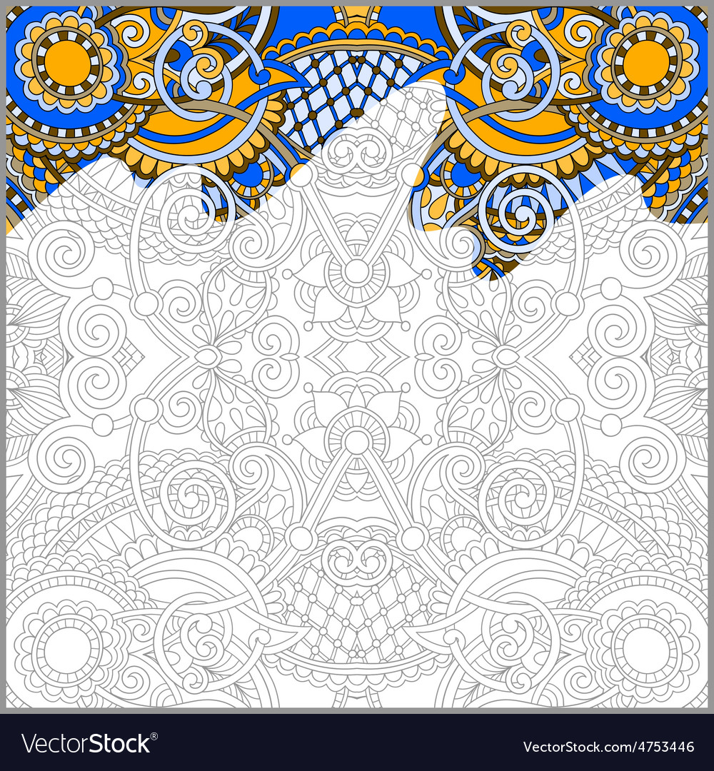 Unique coloring book square page for adults vector by kara for Unique coloring pages for adults