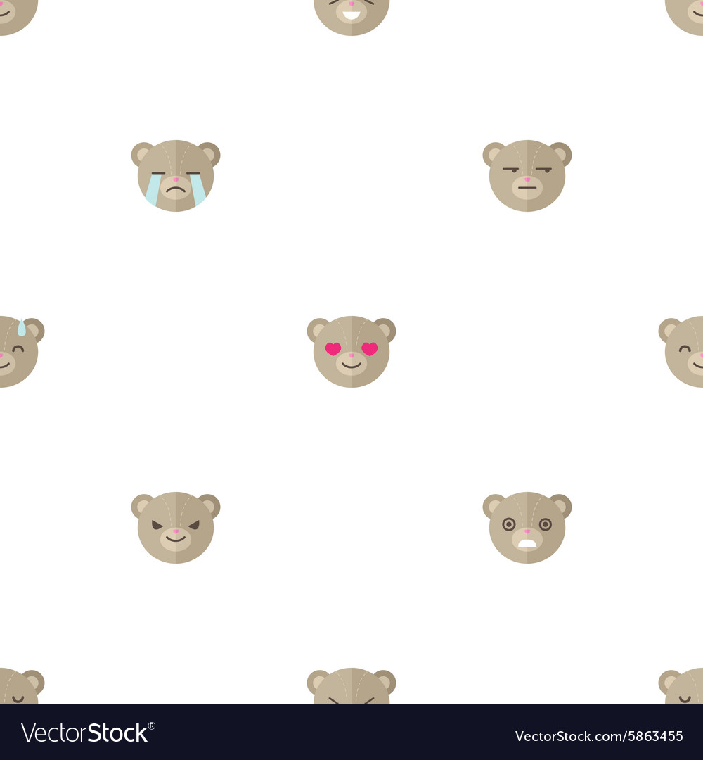 Flat cartoon bear heads with different