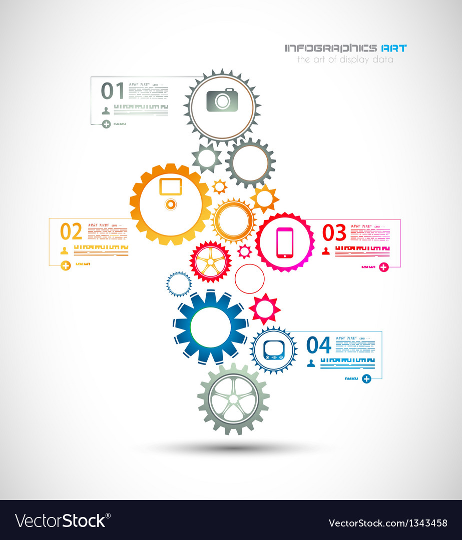 Infographic design template with gear chain vector