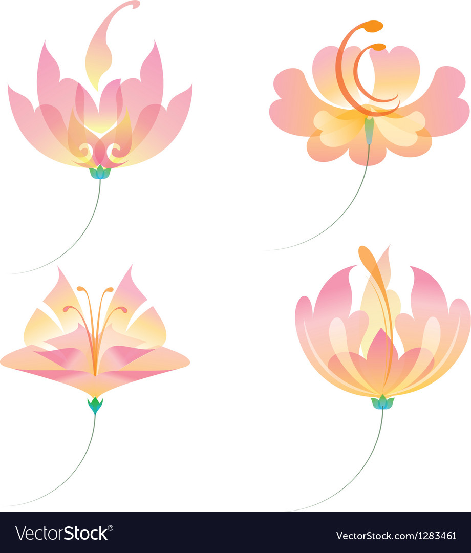 Set of oriental flowers vector