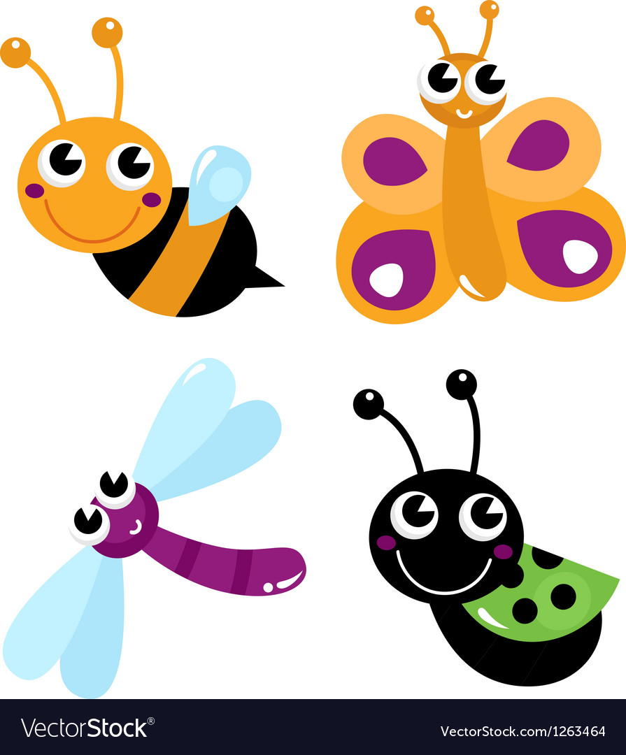 Cute little cartoon bugs isolated on white vector